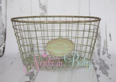 TWINS Oval Antique Green Basket